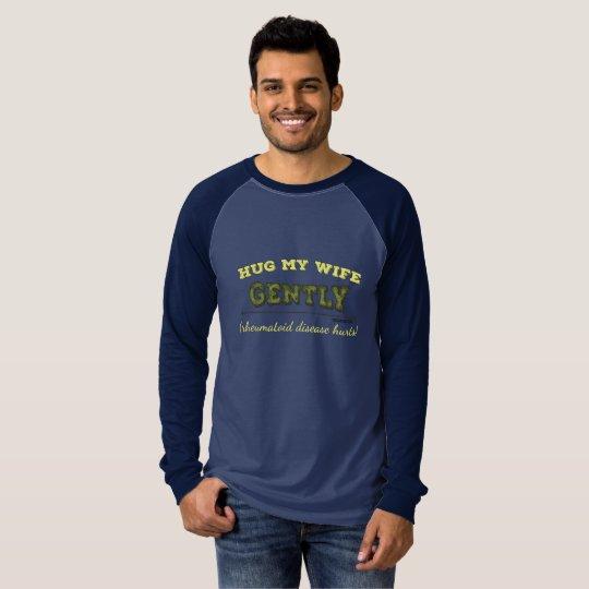 Hug My Wife Gently camo raglan sleeve shirt