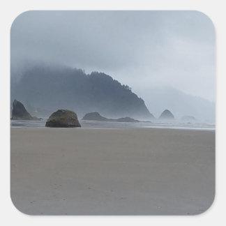 Hug Point Oregon Coast on a Misty Day Square Sticker