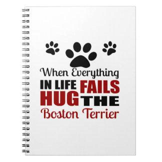 Hug The Boston Terrier Dog Spiral Notebook