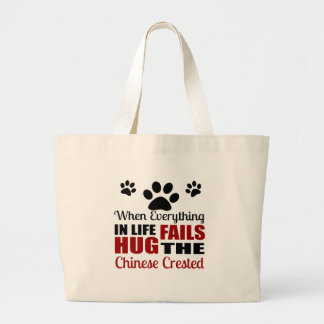 Hug The Chinese Crested Dog Large Tote Bag