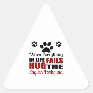 Hug The English Foxhound Dog Triangle Sticker