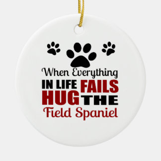 Hug The Field Spaniel Dog Round Ceramic Ornament