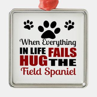 Hug The Field Spaniel Dog Silver-Colored Square Ornament