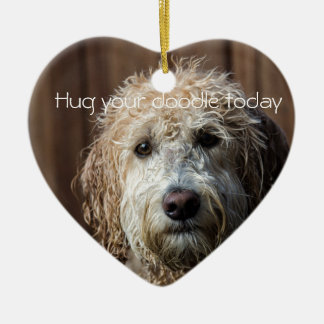 hug your Doodle cute Labradoodle heart ornament