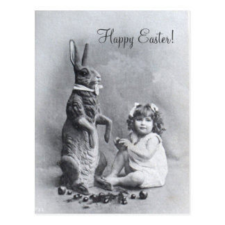 Huge Bunny Victorian Girl Easter Candy Postcard
