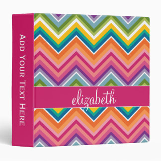 Huge Colorful Chevron Pattern with Name Vinyl Binder