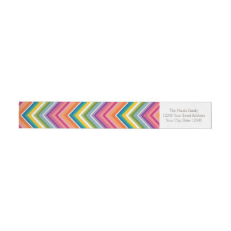 Huge Colorful Chevron Pattern Wrap Around Label
