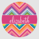 Huge Colourful Chevron Pattern with Name Round Stickers