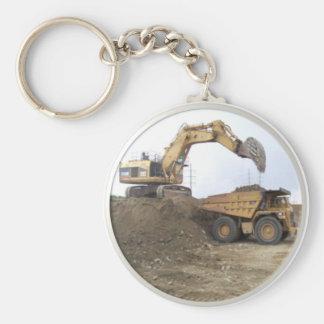 Huge Excavator / Dump Truck Basic Round Button Keychain