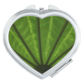 Huge Leaf  Heart Compact Mirror
