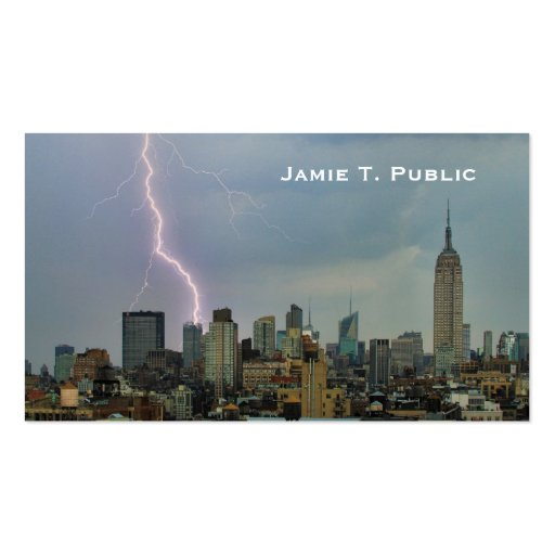 Huge Lightning Strike Over Midtown NYC Skyline #3 Business Card Templates