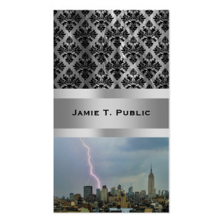 Huge Lightning Strike Over Midtown NYC Skyline Double-Sided Standard Business Cards (Pack Of 100)
