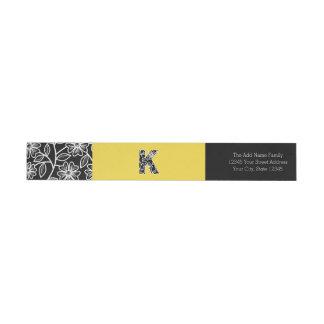 Huge Monogram K - Modern Floral Pattern Yellow Wrap Around Label
