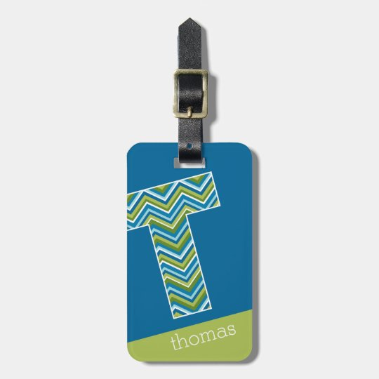 Huge Monogram Letter T Bright Blue Chevrons Luggage Tag