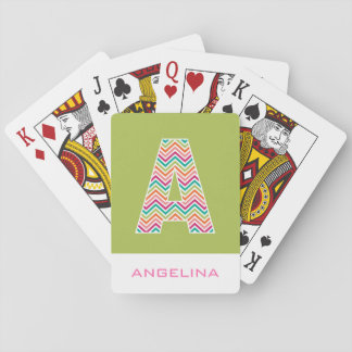Huge Monogram with Colorful Chevrons Letter A Playing Cards