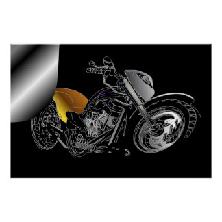 Huge Page Curl Motorcycle Poster