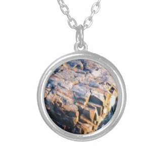 huge rock cube silver plated necklace