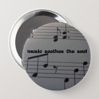 Huge Round Button 4 inches music text & notes