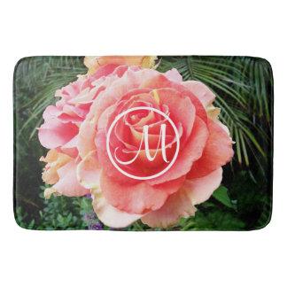 Huge soft pink rose close-up photo custom monogram bath mat