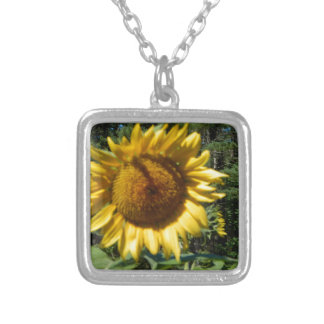 Huge Sunflower Silver Plated Necklace