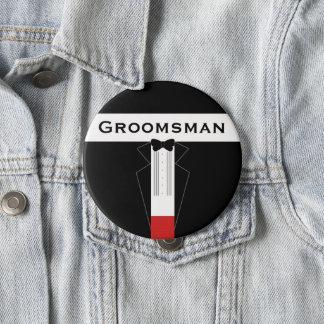 Huge Tuxedo Groomsman Wedding Pin Button