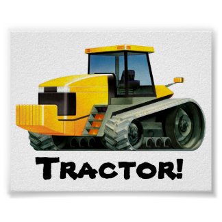 Huge Yellow Tractor Poster