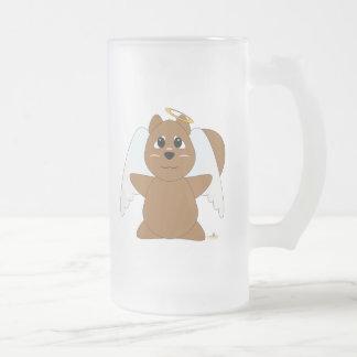 Huggable Angel Brown Squirrel Frosted Glass Beer Mug