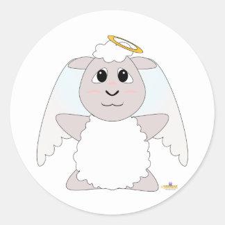Huggable Angel White Sheep Classic Round Sticker