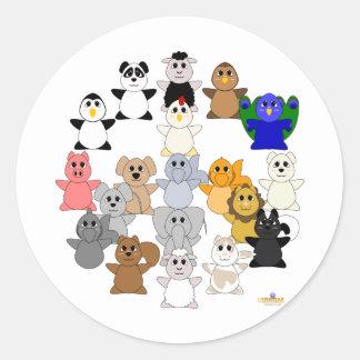 Huggable Animal Peace Sign Classic Round Sticker