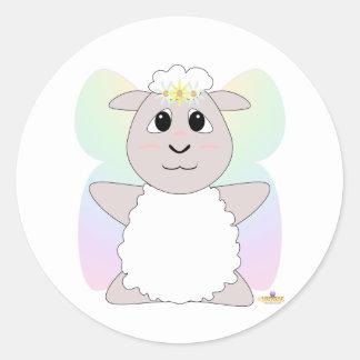 Huggable Fairy White Sheep Classic Round Sticker