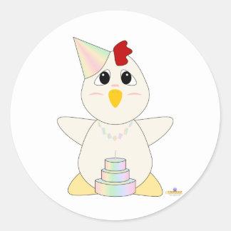 Huggable Pastel Birthday White Chicken Classic Round Sticker