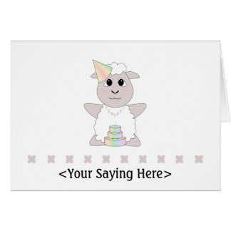Huggable Pastel Birthday White Sheep Card