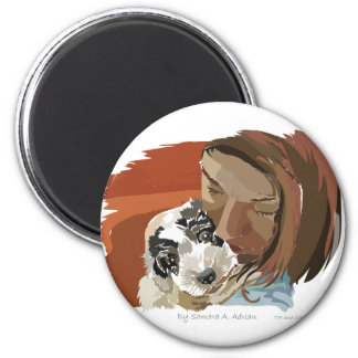 HUGGABLE PUPPY 2 INCH ROUND MAGNET
