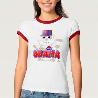 Huggable Voting Tan Cat Red Obama T-Shirt