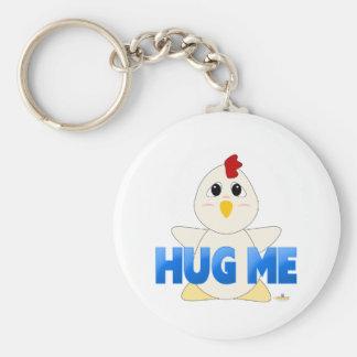 Huggable White Chicken Blue Hug Me Keychain