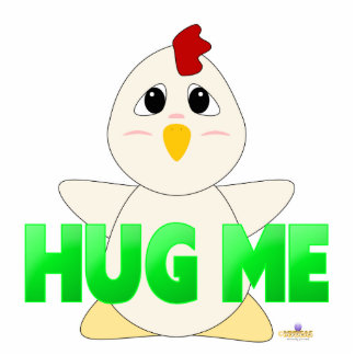 Huggable White Chicken Green Hug Me Photo Sculpture Button