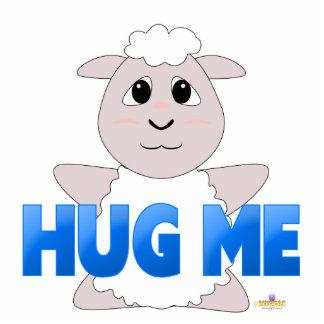 Huggable White Sheep Blue Hug Me Acrylic Cut Out