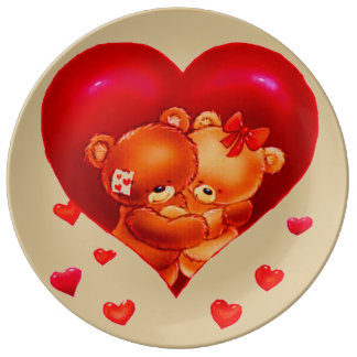 hugging bears with hearts porcelain plate