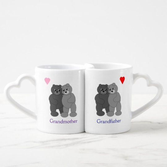 Hugging Grey Teddy Bears Grandparents Lovers Mug