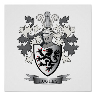 Hughes Family Crest Coat of Arms Poster