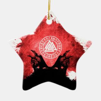 Huginn and Muninn Odin's Ravens Ceramic Star Ornament