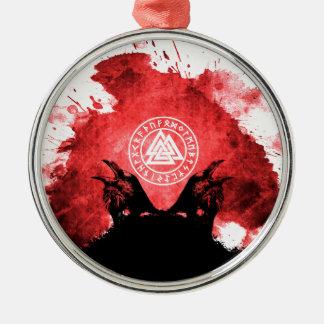 Huginn and Muninn Odin's Ravens Metal Ornament