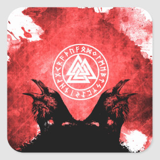 Huginn and Muninn Odin's Ravens Square Sticker