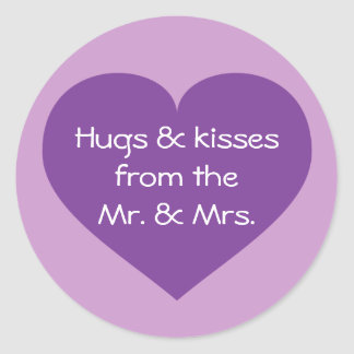 Hugs and kisses purple heart classic round sticker