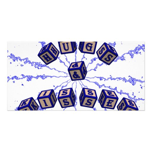 Hugs and Kisses toy blocks in blue. Photo Card