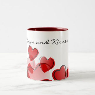 Hugs and Kisses Two-Tone Coffee Mug