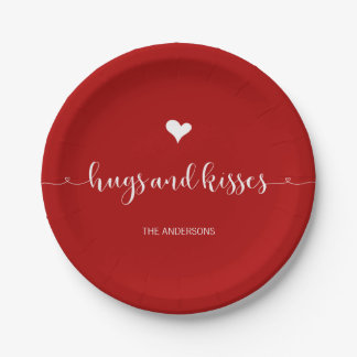 Hugs and Kisses Valentine's Day Paper Plates