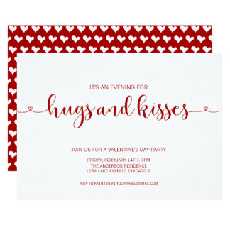 Hugs and Kisses Valentine's Day Party Card