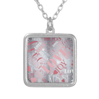 Hugs and Kisses Word Cloud Pink/Silver ID286 Silver Plated Necklace