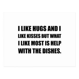 Hugs Kisses Dishes Postcard